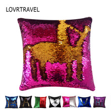 "Pillowcase Cushion Cover Reversible Mermaid Sequin Magical Color Changing Throw Pillow Covers Decorations for House Party 16*16""(China)"