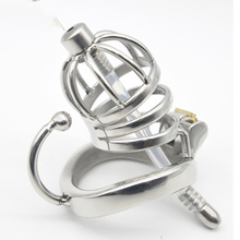 Buy 304 stainless steel Male chastity device Two specifications cock cage,Silicone urethral catheter/No catheter chastity device