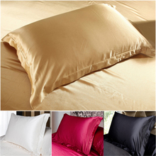 100% Double Face Envelope Silk Pillow Case Silk Pillowcase Camel White Black Silk Satin Pillow Case Multiple Colors, 48*74 cm(China)
