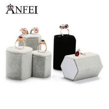 ANFEI Wholesale Price Exquisite Small Ring/Earrings Display Holder Heart-Shaped Ring Stands Velvet Earrings Exhibitor Holder