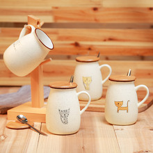 Kid Children Funny Gift Travel Cat Ceramic Coffee Milk Drinking Mug with Wooden lid Handle Spoon Office Breakfast Drinkware