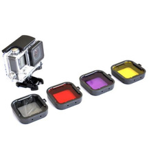 Purple Red Gray Yellow  filter  4pcs/lot Lens Filter Diving Filter Gopro HERO 3+ 4 Camera Housing Case Underwater Lens Converter