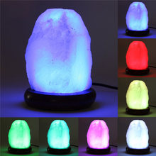 Himalayan Natural Salt Lamp 5W Air Purifier Crystal Rock Table Desk Lamp USB Powered Multi Color LED Night Light Bulb Decoration