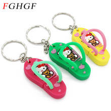FGHGF slipper usb flash drive hello kitty shoe pendrive 4GB 8GB 16GB 32GB memory stick U disk usb 2.0 thumb drive free shipping