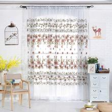 Valances Tulle Voile Door Window Curtain Drape Panel Sheer Scarf Divider Deco living room curtain panel jacquard fabrics door(China)