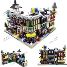 Mini Street View Fire Station Hotel Shop Mall City Set Building Bricks Blocks Toy Gift Compatible With Lego CREATOR