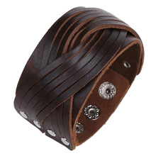 Boho Gypsy Hippie Hiphop Punk Brown Black Real Leather Button Lock Layers Knots Charm Wrap Braiding Big Wide Unisex Bracelet Man(China)