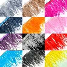10 Meters/lot Multi Color Long Ostrich Feather Plumes Fringe trim 8-10cm Feather Boa Stripe for Party Clothing Accessories Craft