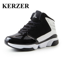 KERZER Sport Shoes Men Basketball Boots Leather Training Shoes Basketball Sneakers Black/Blue Professional Basketball Shoes Men