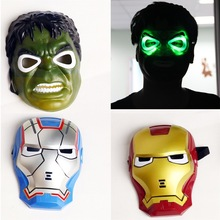 Super Hero Spiderman Hulk Batman Iron Man LED Halloween Party Plastic Mask Toy(China)