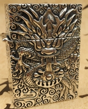 CQD 5.5*4*2cm Six carved reliefs S925 sterling silver hand carved dragon lighters(China)