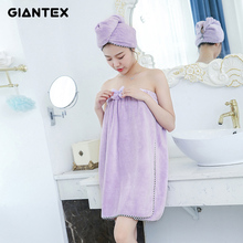 GIANTEX Women Bathroom Super Absorbent Quick-drying Microfiber Thick Bath Towel Bath Robe Hair Towel Set U1228(China)