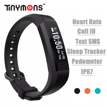 Tinymons TM-B1 Bluetooth Smart Band Heart Rate Pedometer Sleep Tracker Call ID Text SMS Wristband Pluse bracelet Clock PK ID115(China)