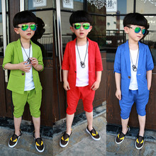 Boys clothes 2017 male child blazer set summer children's clothing fashion linen candy color baby boys blazer twinset pans+coat