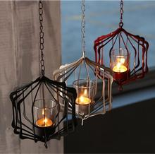 New 1PC White Black and Red Iron Hanging Candle Holder With 35cm Chain Coffee Store Decoration Candle Hanging Lantern Cup Candle(China)