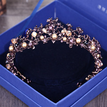 Baroque Retro Purple Crystal Gold Crown Bridal Head Jewelry Rhinestone Beads Tiara Crowns Pageant Dress Wedding Hair Accessories