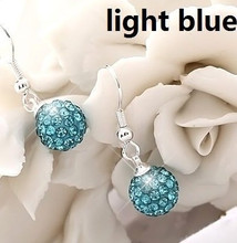 New!10mm Light Blue Crystal Micro Pave Disco Ball Silver Plated Drop shamballa earrings studs women Gift wholesale