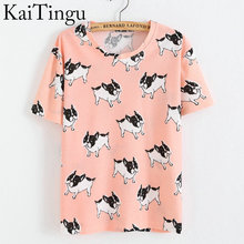 KaiTingu Brand New Fashion Spring Summer Style Harajuku T Shirt Women Clothes Tops O-Neck Tee Shirts Funny Dog Print(China)