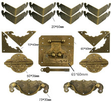 Chinese Vintage Brass Lock Set For For Wooden Box,Vase Buckle Hasp Latch Lock+ Hinge+Corner+Handle,Bronze Tone(China)