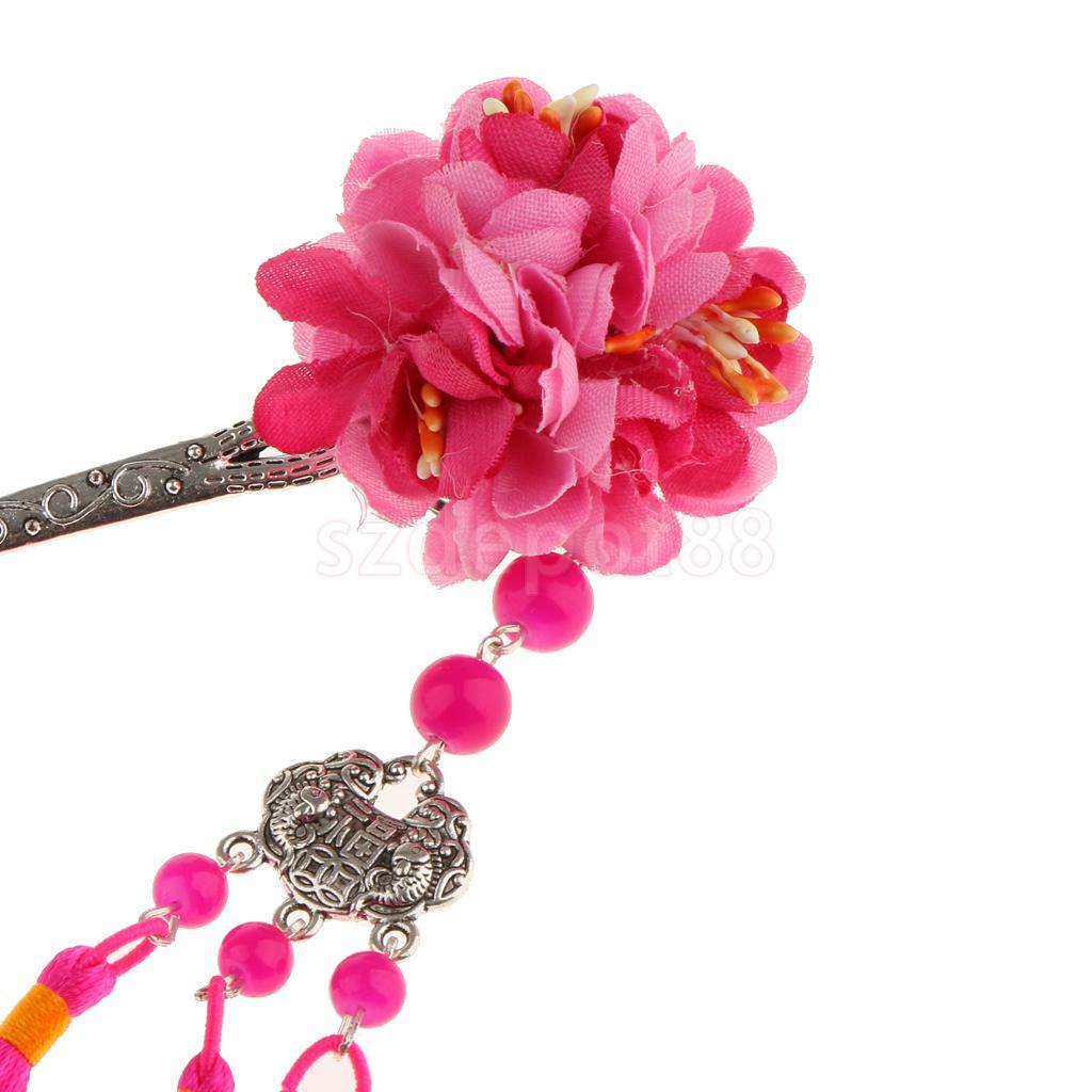 Flower Hairpin Hair Stick Kanzashi Tassel Chignon Vintage for Kimono Hanfu