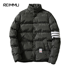 Reimmu Winter Jacket Men Hot Sale Oversized Mens Winter Jackets Slim Fit Stripe Male Clothes Casual Men Down Jacket 5XL Parka(China)