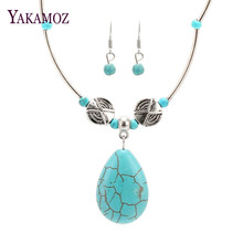 2017 Vintage Jewelry Set Tibetan Sliver Plated Water Drop Shaped Necklace with Dangle Earring Set for Women