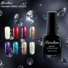 Super Star Diamond Glitter Gel Nail Polish Long Lasting Soak Off UV LED Nail Art Gel Polish Makeup 8ml lucky colors Choose(China)