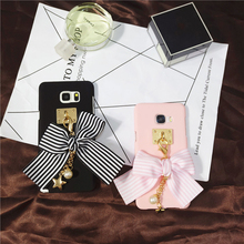 Hot Element Stripe Bowknot Case for Samsung Galaxy S7 S7edge S6 S6edge Note 3/4/5 Cute Lovely Case for Girl with Star Pendant