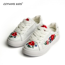 CCTWINS KIDS Baby Girl Genuine Leather Sneaker Children Sport Black Trainer Kid Fashion Embroidery Shoe Toddler Casual Flat F647