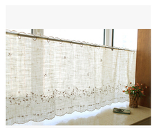 American country style cotton and linen embroidered coffee flower kitchen curtain   Semi-shade coffee curtain