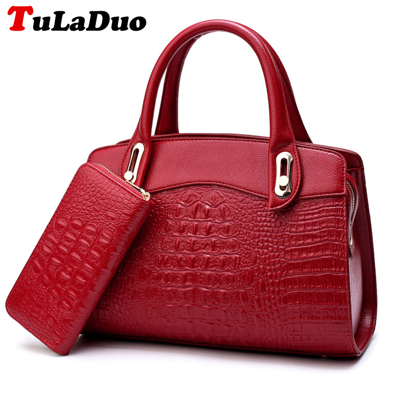 2 Set Luxury Handbags Women Bags Designer Alligator Handbags Women Leather Purses Shoulder Bag High Quality Fashion Tote bag Sac<br>