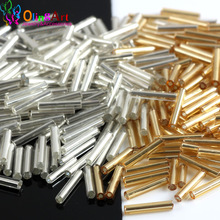 OlingArt Gold Silver 400pcs Silver-Lined Glass Seed Beads 9x1.8mm Bugle Tube necklace Bracelet earrings DIY jewelry making