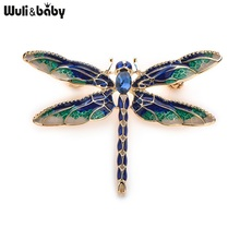 Wuli&Baby Green Purple Enamel Dragonfly Insects Brooches For Women And Men Alloy Metal Banquet Weddings Brooches Pins Gifts(China)