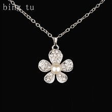 Bing Tu OL Style Silver Color Flower Necklace For Women Bride Floral Jewellery Imitation Pearl Flower Pendants Necklaces Crystal