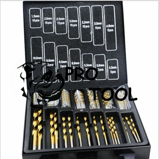 Free shipping Iron Box packing 99PCS HSS Twist Drill Bits Set 1.5-10mm Titanium Coated Surface 118 Degree For Drilling Metal<br>