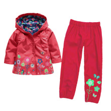 Fashion high quality girls size 4 years old clothing nylon cotton lining waterproof red hoodie jacket long sports pants set