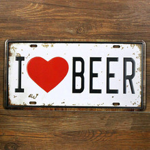 "New product RONE0136 Free ship Vintage Metal tin signs "" I love beer "" License car Plates Wall art craft home decor 15x30cm(China)"