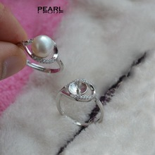 925 Sterling Silver Gem-studded Eye shape Pearl Ring Mountings, Pearl /Coral/ Cystal/ Gems Ring Fitting, DIY Ring Accessory(China)