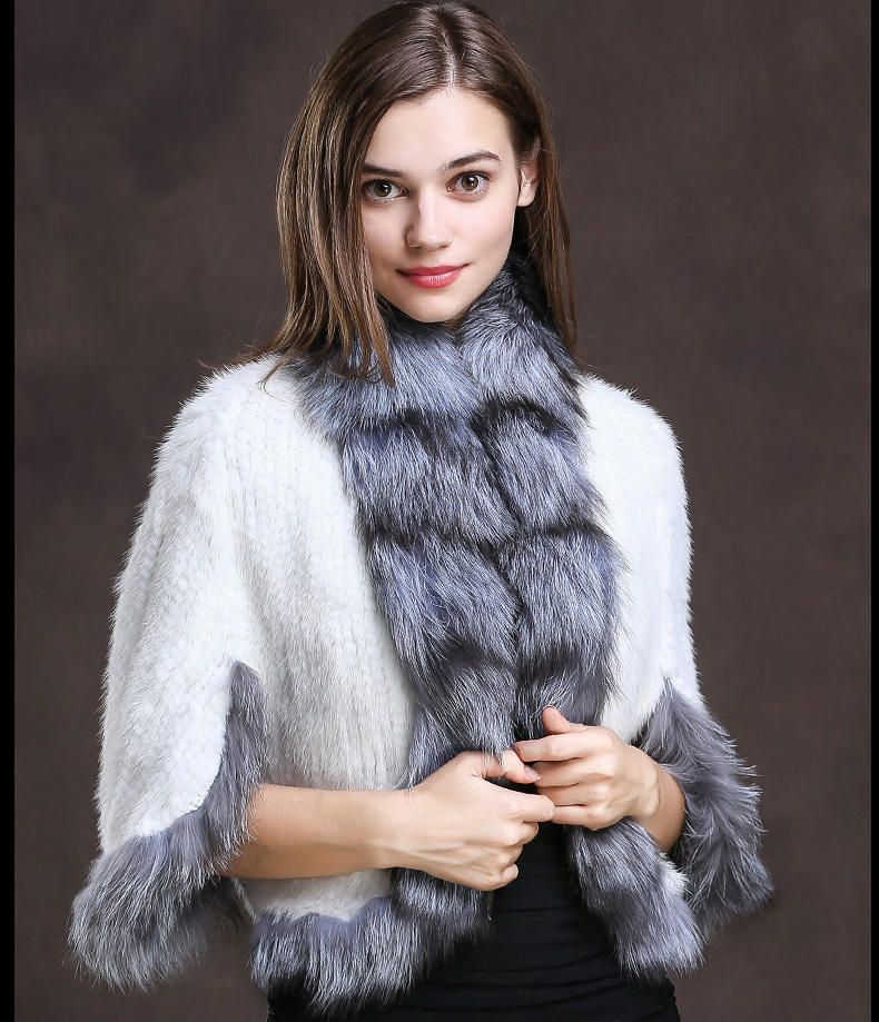 Winter Shawl Wrap Poncho Real Knit Mink Fur shawl With Fox Trimming Real fur Jacket coats party 2017 new (18)