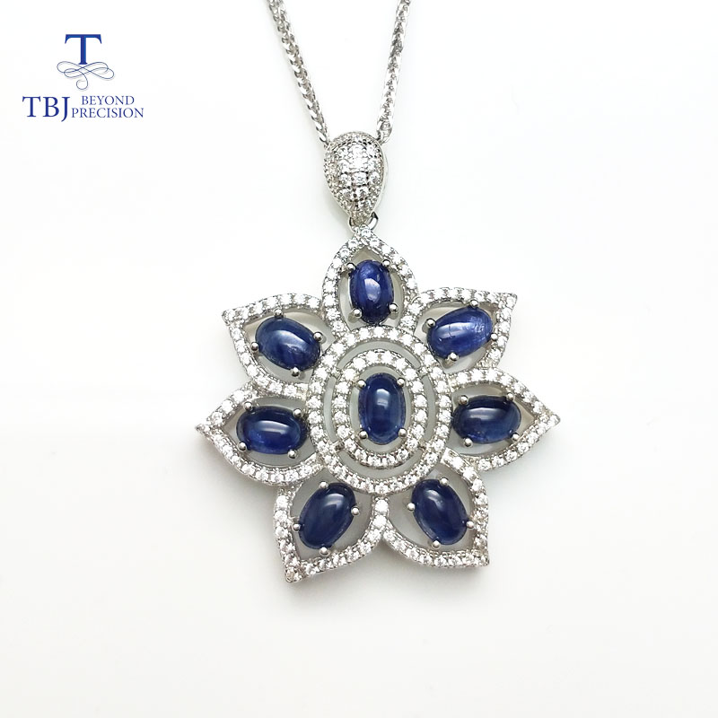 TBJ,flower pendant with natural blue sapphire gemstone jewelry in 925 sterling silver,elegant pendant for women&girls as a gift