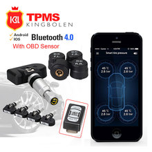 VC601 BLE TPMS Wireless Smart Car TPMS Bluetooth 4.0 Auto Tyre Tire Pressure Monitoring System 4 Sensors for iOS Android App(China)