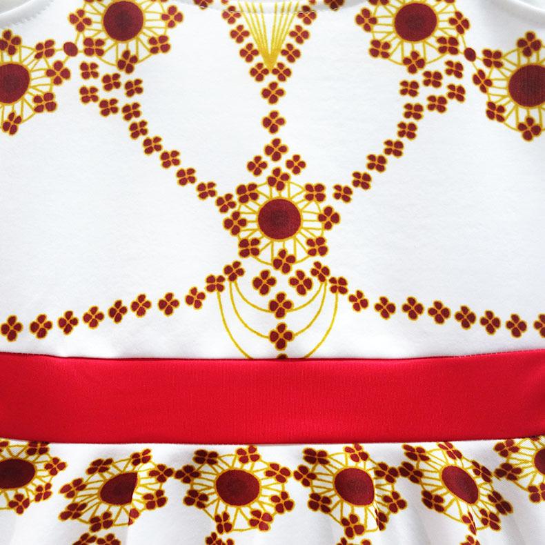 Children\'s White Print Dress Movie Ballerina Cosplay Costume Kid Baby Girl Sleeveless Dress (12)