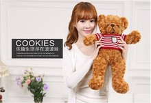 60cm brown teddy bear plush toy red&white stripes sweater bear doll, birthday gift w3083(China)