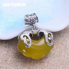 GQTORCH 925 Sterling Silver Natural Gemstone Necklace Vintage Style Yellow Chalcedony Inlaid Carving Double Fishes Fine Jewelry(China)