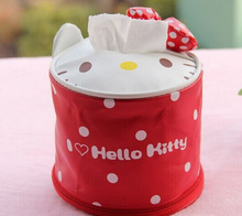 1X Random , Kawaii Barrel PU 13CM Hello KITTY Tissue Case & Bathroom Tissue Box Container Canister ; Roll Paper BOX Case BAG