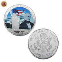 WR Commemorative James Knox Polk Silver Plated foil Coin Metal Art Crafts 11th US President Challenge Coin for Festival Gifts(China)