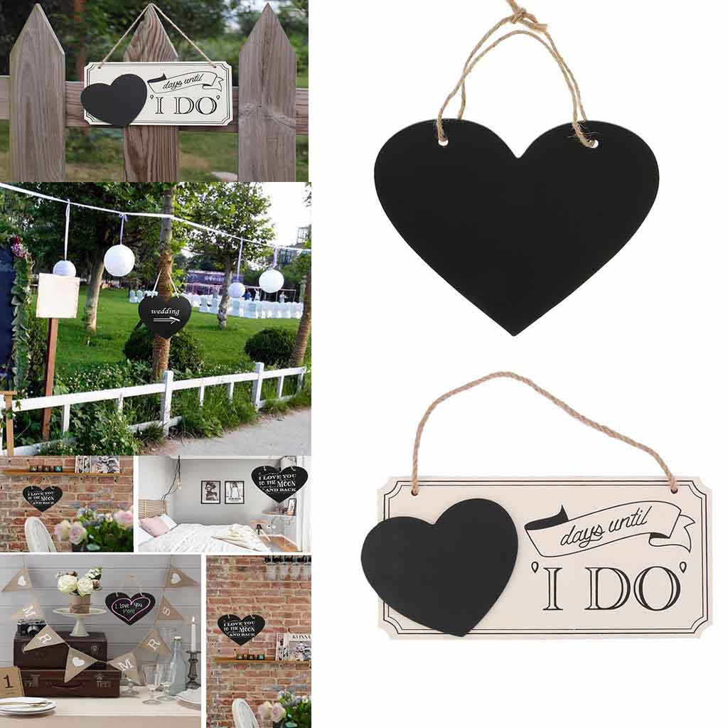 Newest Chalkboard Decoration Supplies Mini Wooden Engagement Wedding Marriage Sign Heart shaped Wedding countdown hanging board