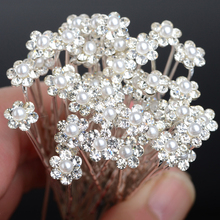 40Pcs Wedding Bridal Hairpins Tiara Charm Pearl Crystal Flower Rhinestone Hair Clips Pins Accessories Jewelry