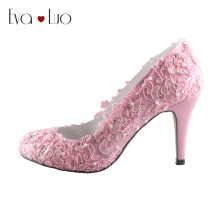 CHS653 DHL Express  Custom Handmade Light Pink High Heel Lace Bridal Wedding Shoes Big Size Women Dress Shoes Pumps DHL