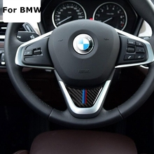 Carbon Fiber Car Steering Wheel Sticker M stripe Emblem Stickers for BMW X1 2016 F48 1 Series 2017 F52 2 Series Tourer F45 F46(China)